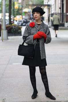 Love this combination of black, checkered top and red accessories. ADVANCED STYLE: November 2011