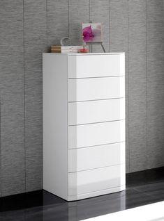 Sandra, Modern Tall Chest of Drawers in White High Gloss