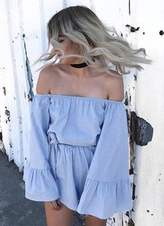 408cdf413f off Shoulder Elastic Waist Solid Rompers. Jumpsuit With SleevesShort  JumpsuitShort OverallsBelted ShortsBeach PlaysuitStrapless JumpsuitWomen s  ...