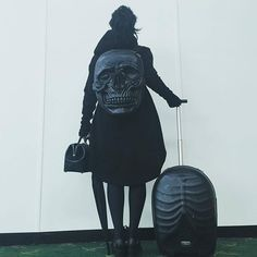 Kat Von D heads on her travels with this Kreepsville Skull backpack.  Get yours here; ★ www.AttitudeClothing.co.uk | We Ship Worldwide  #skull #bag #backpack #handbag #black #allblack #allblackeverything #goth #gothic #nugoth #occult #witch #fashion #style #ootd #instafashion #summer #streetstyle #swag #getthelook #fashionblogger #styleblogger #vlogger #attitudeclothing #moonchild #gothgirl #jetsetter #fashionista