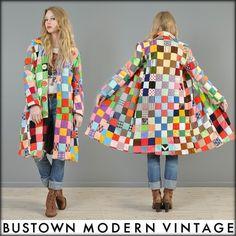 Vtg 70s Patchwork Rainbow Quilted Hippy Boho Ethnic Blanket Dress Coat Jacket | eBay$225 sold