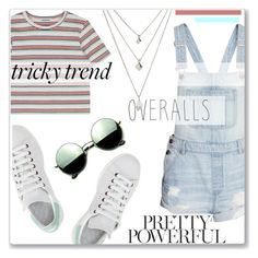 """""""Tricky Trend:Overalls"""" by maryjane95 ❤ liked on Polyvore featuring H&M, adidas, Revo, TrickyTrend and overalls"""
