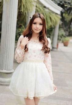 Mango Doll - Rose Chiffon Long Sleeve Dress, $54.00 (http://www.mangodoll.com/all-items/rose-chiffon-long-sleeve-dress/)