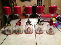 Wine glass snowglobes
