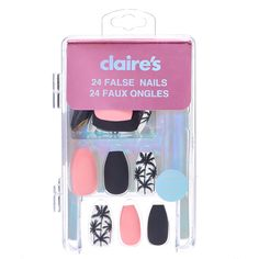 There are three kinds of fake nails which all come from the family of plastics. Acrylic nails are a liquid and powder mix. They are mixed in front of you and then they are brushed onto your nails and shaped. These nails are air dried. Claire's Fake Nails, Claire's Nails, Fake Nails For Kids, Kiss Nails, Glue On Nails, Toe Nail Art, Acrylic Nails, Nails Short, Flower Nail Designs