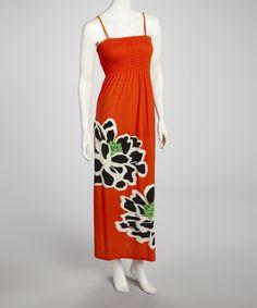 Loving this Orange & Black Flower Shirred Maxi Dress on #zulily! #zulilyfinds
