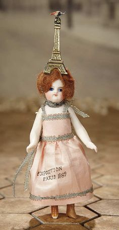 """""""Fascination"""" - Sunday, January 8, 2017: 208 French All-Bisque Mignonette with Unusual Costume"""