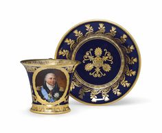 """c1824 A SEVRES PORCELAIN COBALT-BLUE GROUND PORTRAIT CUP AND SAUCER OF LOUIS XVIII (TASSE JASMIN ET SOUCOUPE) DATED 1824, BLUE STENCILED INTERLACED L'S MARK ENCLOSING FLEUR DE LYS, GILDER'S MARK DG.4.FEV, GREEN-PAINTED GROUND-COLOR KILN MARK 24 TO ONE AND 9D""""14 TO THE OTHER, THE CUP INCISED TT (FOR THE REPAREUR-GARNISSEUR CHARLES THEVENOT), T AND 46, THE SAUCER INCISED DC AMD VZ5 Price realised  USD 8,125"""