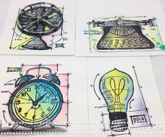 Coloring some Tim Holtz Blueprint Images while Traveling.  2013
