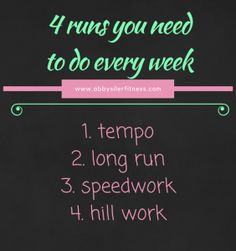 4 running WORKOUTS to do every week - I get a lot of questions about the types of RUNS you should include in your running training each week. Keep in mind that these 4 runs you need to do every week! Race Training, Training Plan, Running Training, Running Gear, Cross Training, Fit Girl Motivation, Running Motivation, Fitness Motivation, Running Quotes