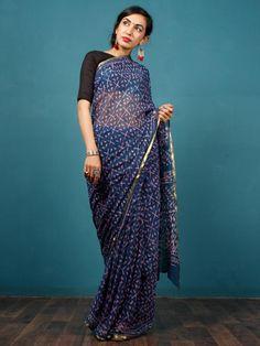 12deebb90fe Indigo Lavender Hand Block Printed Chiffon Saree with Zari Border -  S031702798