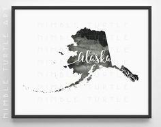 Alaska State Outline Watercolor  -  Typography Printable Download