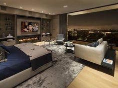 luxus schlafzimmer laminatboden ausblick nacht stadt skyline