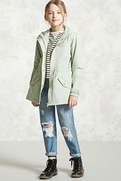 Forever 21 Girls - A woven utility jacket featuring a hood, snap-button zip-up front, a drawstring waist, vented back, two front flap snap-button pockets, front zippered pocket, and long elasticized sleeves.