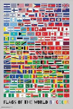 All World Flags, Countries And Flags, Flag Country, Flag Icon, Poster Colour, Color Print, Flag Art, Poster Prints, Art Prints