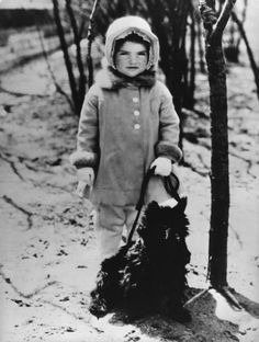 Little Jacqueline Bouvier with her Scotty dog in Central Park