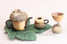 An Acorn Tea or Wine Set for a Fairy Garden