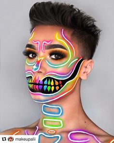 Are you looking for inspiration for your Halloween make-up? Check this out for cute Halloween makeup looks. Cool Makeup Looks, Crazy Makeup, Cute Makeup, Bright Makeup, Colorful Eye Makeup, Eye Makeup Art, Makeup Inspo, Makeup Ideas, Fairy Makeup