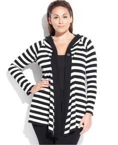 Calvin Klein Performance Plus Size Striped Draped Cardigan - Sweaters - Women - Macy's