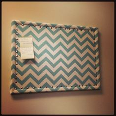 Chevron covered bulletin board. Photo credit Courtney.