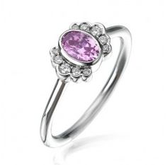 Engagement Rings - diamond and pink sapphire engagement ring