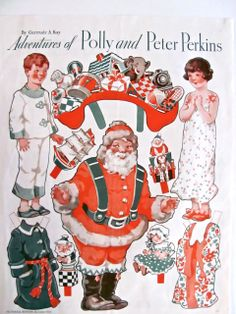 Christmas Paper Doll Adventures of Polly and Peter Perkins Vintage 1933