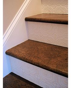 Textured Wallpaper on Stairs | DIY Home Decor Ideas on a Budget | Click for Tutorial | DIY  Home Decorating on a Budget