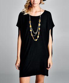 This Love, Kuza Black Kimono-Sleeve Shift Dress by Love, Kuza is perfect! #zulilyfinds