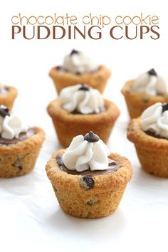 A fun low carb treat for the whole family. Creamy sugar-free chocolate pudding in deliciously crisp grain-free chocolate chip cookie cups. @DreamAboutFood