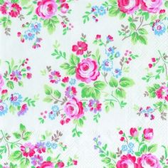 Designed by Cath Kidston these paper napkins are decorated in her gorgeous Chelsea Roses pattern. The tiny pink roses and blue flowers on a white background give the napkins a cottage style look. Great for parties, barbecues, picnics and dressing up your table. Each pack contains 20 x 3 ply 100% recycled paper napkins. Other Cath Kidston napkins and tissues are also available.
