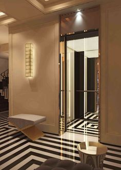 jacques grange - Google Search Treatments of hallway and elevator floors compliment each other.