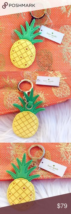 Kate Spade Pineapple Keychain 💟Adorable Pineapple Keychain; 🏷Brand new with tag; 🛍In perfect condition, no damages; ✔️All items 100% Authentic; 💰REASONABLE offers will only be considered through the offer button; 💵Please, NO lowball offers, it's very disrespectful; 🎁Purchases over $200 will come with a gift; 🌷Smoke free pet free home; 💸BUNDLE and save!!   💋Happy Poshing💋 kate spade Accessories