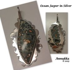 Stunning silver setting with Ocean Jasper by Annukka. So Creative, Pendant Design, Statement Jewelry, Jasper, Pendants, Ocean, Rock, Beads, Create