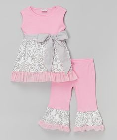 Another great find on #zulily! Pink & Gray Damask Top & Pants - Infant, Toddler & Girls by AnnLoren #zulilyfinds