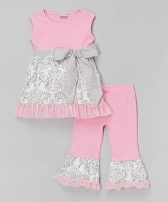 Look at this #zulilyfind! Pink & Gray Damask Top & Pants - Infant, Toddler & Girls by AnnLoren #zulilyfinds