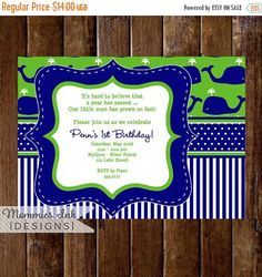 10% OFF SALE Whale Birthday Party Invitation Whale