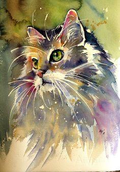 Animal Drawings Buy Cute cat- perfect gift idea, Watercolor by Kovács Anna Brigitta on Artfinder. Watercolor Cat, Watercolor Animals, Watercolor Paintings, Original Paintings, Watercolours, Cat Drawing, Painting & Drawing, Animal Paintings, Animal Drawings