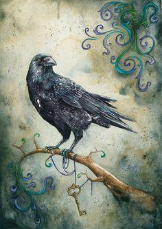 raven, crown, branch, key haning, swirls of green and blue, Braden Duncan