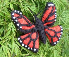 Knitting pattern for Monarch Butterfly - The finished butterfly is approx 4 inches wide, about the size of a real monarch butterfly. This pattern comes with two versions. You can either knit a flat butterfly, to use for applique, or knit a 3-dimensional butterfly, which would make a lovely toy or mobile. The pattern comes with instructions and color charts. On Etsy (affiliate link) tba