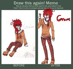 Some day she will be famous with her untraditional imagination. So young, no classes, just natural talent, a vivid imagination and NO classes.  Before and after meme. by *CremexButter