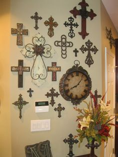 LOVE the clock with the cross collage!