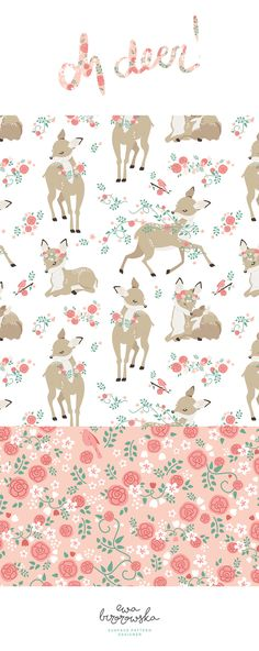 Oh Deer! is a romantic mini-collection with cute roes and floral in pastel color palette.