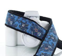Blue Paisley Camera Strap Butterfly dSLR Pocket Camera by ten8e