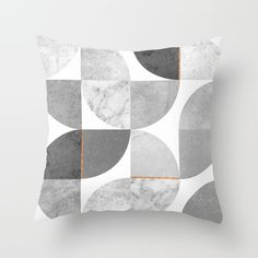 Marble Gray Copper Black and white circles Throw Pillow by xiari on society6. copper, black, gold, circles, pattern, geometry, concrete, geometric, minimalist, seamless, scandinavian, nordic, mid century, wall art, home decor, scandi design, tapestries, duvet cover, interior design, bedroom, living room, dorm,society6