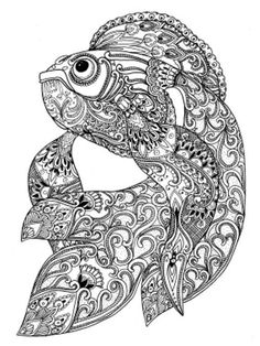 Paisley Doodle Fish Marine Pattern Printable Coloring Book Sheet For Adults PDF JPG Instant Download Quirky Illustration Clip Art Digital