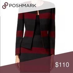 Tahari by ASL Burgundy Black Grey Stripe Blazer Gorgeous and sophisticated blazer. Tahari Jackets & Coats Blazers