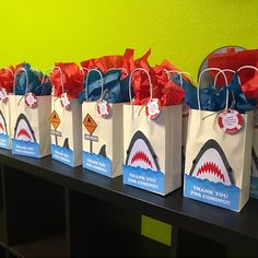 Shark theme birthday party ideas/ Shark theme party goodie bags/ Shark Party favor bags/ Shark DIY printable party supplies/ Shark party treat bags/ Shark Gift bags/ Shark candy bags/ Shark goody bags/ Shark birthday cake/ Shark pool party for boy Shark Party Favors, Mickey Mouse Party Favors, Shark Party Decorations, Diy Party Bags, Party Favor Bags, Goody Bags, Gift Bags, Party Ideas, Care Bear Birthday