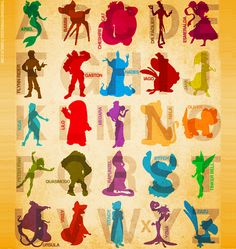 The alphabet in Disney characters ... very cute for a children's room ... <3 Disney!