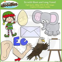 Ee Short and Long Vowel Clip Art and Line Art - $4.00 : Scrappin Doodles, Creative Clip Art, Websets & More