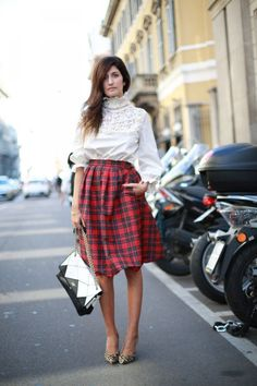 plaid skirt w/ puffy sleeve blouse